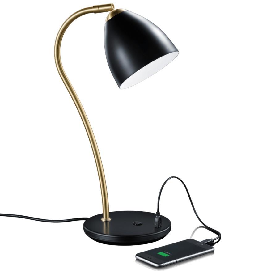 Bordlampe retro stil - Med USB- LED 2700 Kelvin.