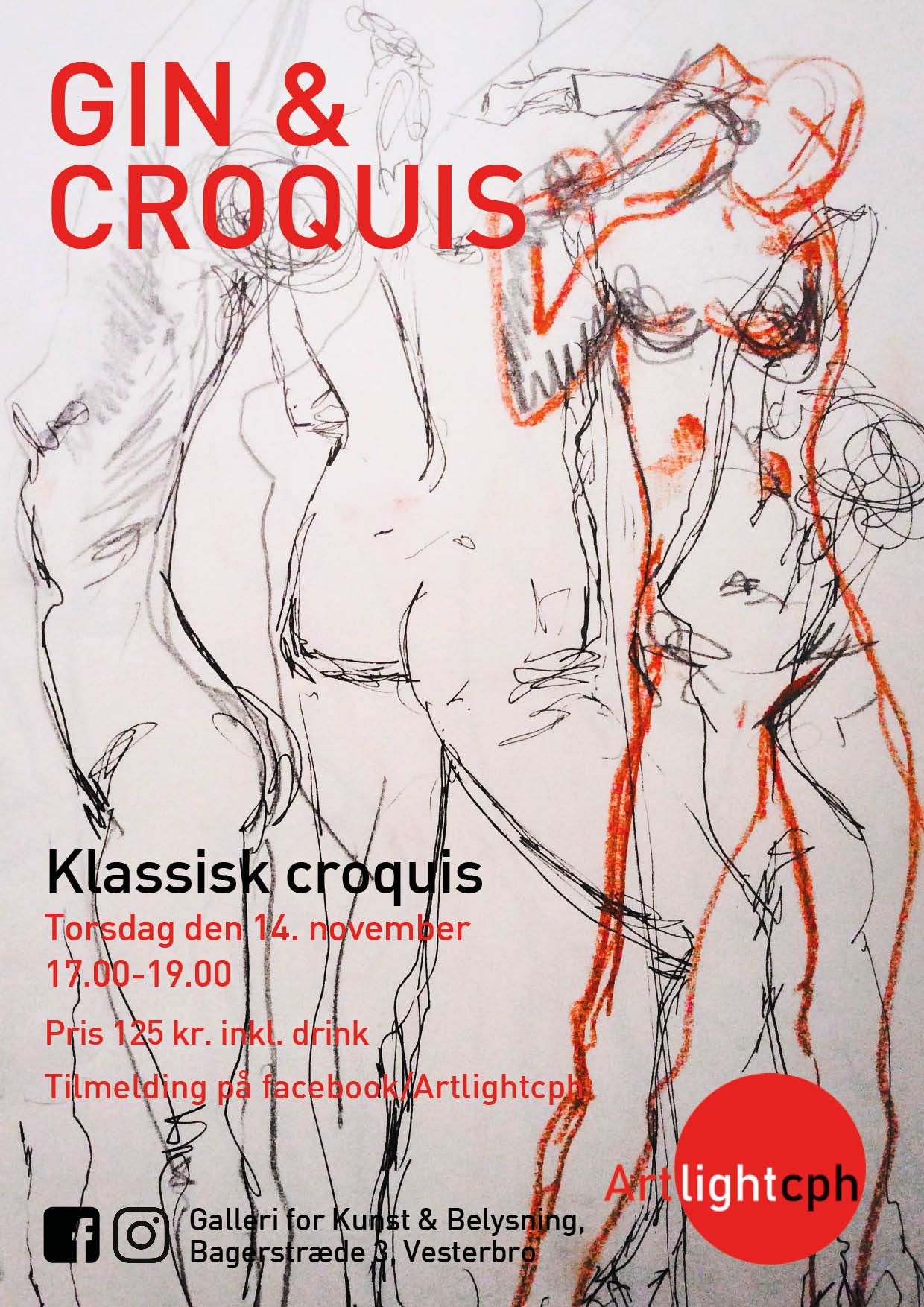 Event med Croquis tegning, ca. en gang om måneden.